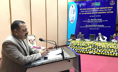 Union Minister Dr Jitendra Singh delivering the prestigious 47th Lal Bahadur Shastri Memorial Lecture at Indian Agricultural Research Institute, Pusa, New Delhi on Thursday.