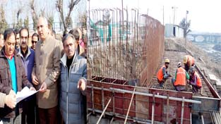 Minister for Public Works A R Veeri inspecting the construction work on Sunday.