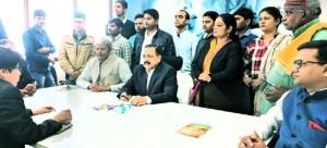 Dr Jitendra meets  deputations at BJP office