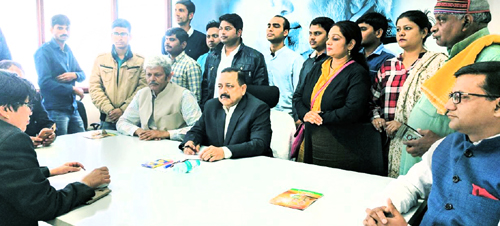 Union Minister Dr Jitendra Singh meeting deputations and attending to public grievances at BJP central office at 11 Ashoka Road, New Delhi on Monday.