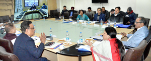 Deputy Chief Minister Dr Nirmal Singh chairing a meeting of Board of Directors of Jammu and Kashmir Housing Board at Jammu on Wednesday.