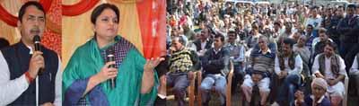 Minister of State for Education Priya Sethi and MLA R S Pathania addressing a gathering at Majalta, Ramnagar on Thursday.