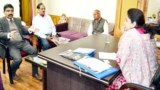 Minister of State for Education Priya Sethi in a meeting with DG Indian Institute of Mass Communication KG Suresh.