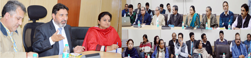Education Minister Altaf Bukhari chairing a meeting at Jammu on Monday.