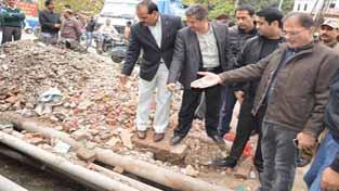 Speaker Kavinder Gupta inspecting development work on Saturday.