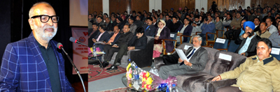 Minister for Education Naeem Akhtar addressing a gathering at Jammu on Wednesday.