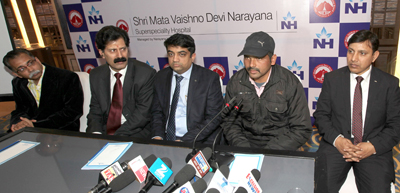 Dr Ankush Sharma, Consultant Neurologist, SMVDNSH alongwith administrative officers during a press conference at Jammu.