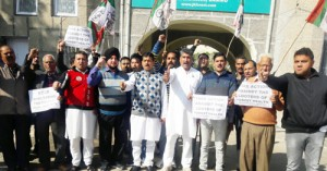 NPP workers protest  against Forest Deptt