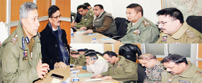 DGP Dr SP Vaid chairing a meeting at Srinagar on Wednesday.