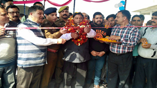 MLA Jammu West, Sat Sharma inaugurating lanes and drains in Ward 28 on Sunday.