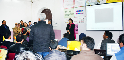 Minister for Education Naeem Akhtar interacting with master trainers on Wednesday.