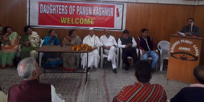 MoS for Education and Culture Priya Sethi and other dignitaries at a function organised by Daughters of Panun Kashmir at Jammu on Sunday.