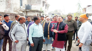 Minister of State for Finance Ajay Nanda interacting with public at Reasi on Saturday.