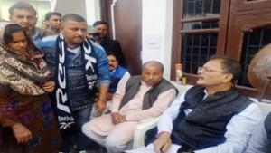 Speaker, Kavinder Gupta interacting with people during his visit to Gandhi Nagar Panchayats on Saturday.