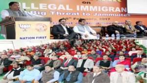BJP leaders during a seminar at Jammu on Saturday.