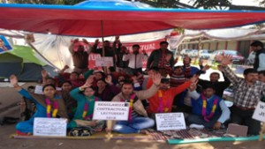 Agitating Contractual Lecturers shouting slogans in support of their demand on Monday.