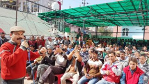 NPP leader Balwant Singh Mankotia addressing party workers at Udhampur on Saturday.