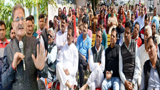 Speaker Kavinder Gupta addressing a public Gandhi Nagar constituency on Friday.