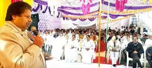 Former minister and PCC leader Raman Bhalla addressing religious gathering at Trikuta Nagar in Jammu on Wednesday.