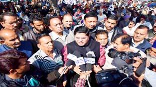 PoK DPs leader Rajiv Chuni talking to media after a meeting in Jammu.