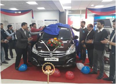 Dignitaries unveiling limited edition of Maruti Suzuki Ertiga at Jammu Motors on Friday.