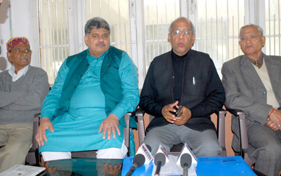 Organiser, ABSCC, Vinod Gupta and others interacting with media persons at Jammu on Thursday. -Excelsior/Rakesh