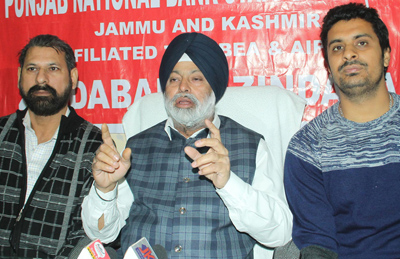 Leaders of PNB Staff Union addressing a press conference at Jammu on Thursday. —Excelsior/Rakesh