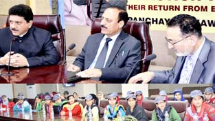 Minister for Rural Development and Panchayati Raj Abdul Haq Khan speaking during a function at Jammu on Tuesday.