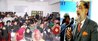 Minister for Finance Dr Haseeb Drabu addressing a gathering in Srinagar on Tuesday.
