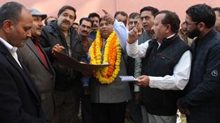 Sat Sharma, MLA Jammu West during visit to Subash Nagar.