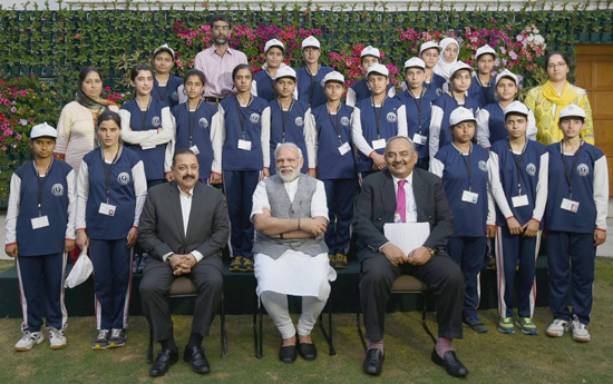 Prime Minister Narendra Modi with the youth and children from Jammu and Kashmir, in New Delhi on Tuesday. Minister of State for Development of North Eastern Region (I/C), Prime Minister's Office, Personnel, Public Grievances & Pensions, Atomic Energy and Space, Dr Jitendra Singh and Union Home Secretary, Rajiv Mehrishi are also seen.