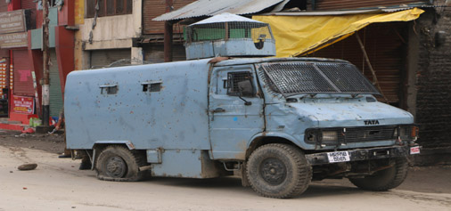 A CRPF vehicle damaged in a grenade attack in Pulwama on Friday. —Excelsior/Younis Khaliq
