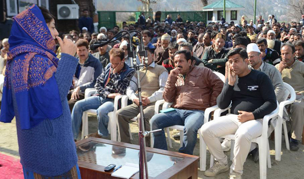 Chief Minister Mehbooba Mufti addressing party workers at her residence in Srinagar ahead of Lok Sabha by-polls. — Excelsior/Shakeel