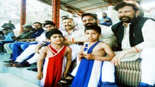 Minister for Forests Lal Singh watching bouts during Mufti Mohd. Sayeed Memorial Wrestling Tournament at Mini Stadium, Parade in Jammu.