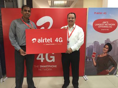 Airtel representatives launching 4G in J&K.