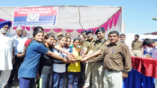 Winners of Volleyball Tournament receiving Trophy from the chief guest in Samba.