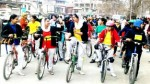 Bicycle rally of students organized by Traffic Police City to create Traffic Rules Awareness in Srinagar on Saturday. -Excelsior/Shakeel