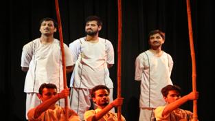 A scene from the play 'Gagan Damama Bajyo'.