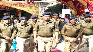 IGP Jammu Zone Dr SD Singh Jamwal reviewing security arrangements at Katra on Tuesday.
