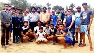 Players posing alongwith dignitaries and officials on day-1 of District Jammu Kho-Kho Championship in Jammu.