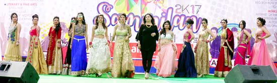 MIET students during Fashion Show 'Rage' on day-1 of Sammilan 2K17 in Jammu on Saturday.