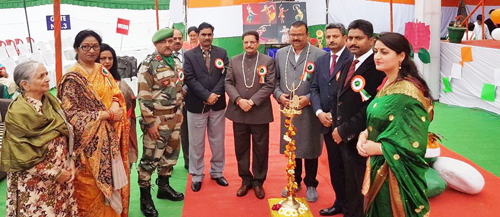 Minister for Industries and Commerce, Chander Parkash Ganga and other dignitaries during Annual Day celebration at Rich Harvest School on Tuesday.