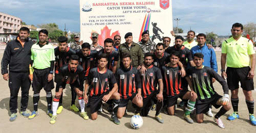 Winners posing alongwith dignitaries and officials during Football Tournament organized by SSB in Jammu.