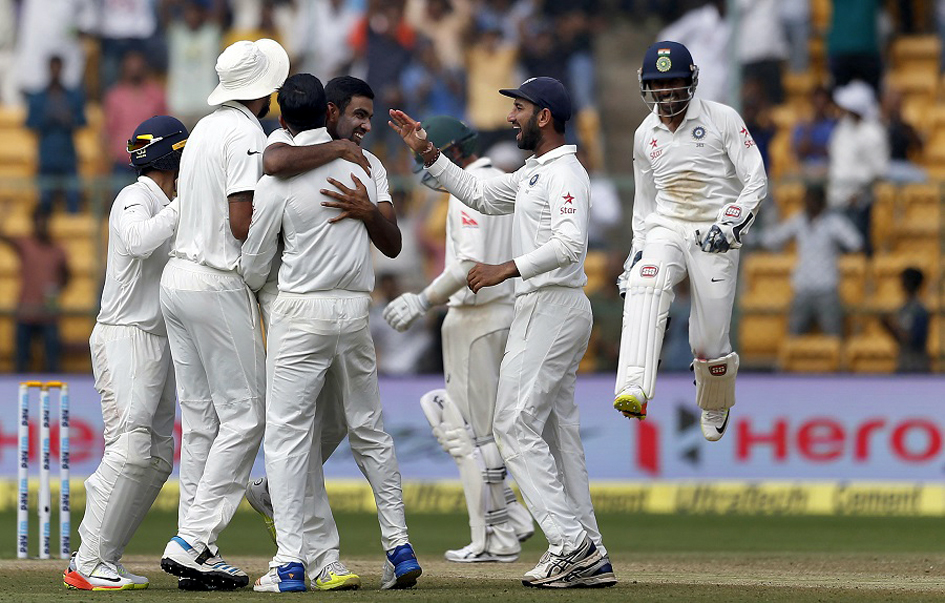 Players of Indian Team celebrating victory against Australia in second Test match at Bengaluru on Tuesday.