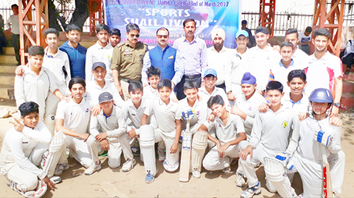 Teams posing for a group photograph during inaugural ceremony of 5-Match Evaluation Series in Jammu.