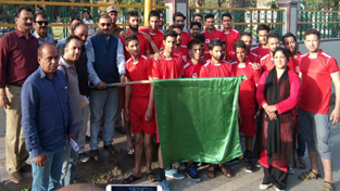 Vice Chairman Sports Council Jammu Ranjeet Kalra flaging off team of specially-abled sportspersons in Jammu on Friday.