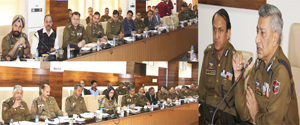 DGP Dr S P Vaid chairing a meeting at Jammu on Thursday.