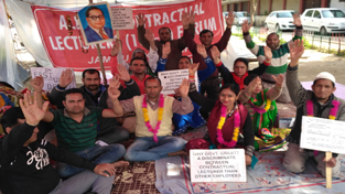 Contractual Lecturers protesting for their regularization.