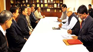 Governor N N Vohra during a meeting with prominent citizens of Katra on Wednesday.