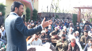 PCC chief GA Mir addressing election rally in Anantnag on Sunday.